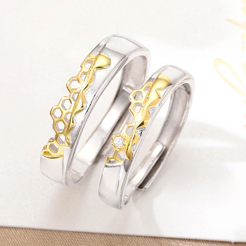 S925 Sterling Silver Prevent Allergy Never Fade Love Pairs Rings Golden Fine Hollow Home Nest Stone Woman Man Couple Rings Lover