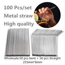 100 Stks/set Metalen Stro Herbruikbare Groothandel Roestvrij Staal Drinken Buizen 215Mm * 6Mm Ecologische Rechte Gebogen Rietjes voor Bier
