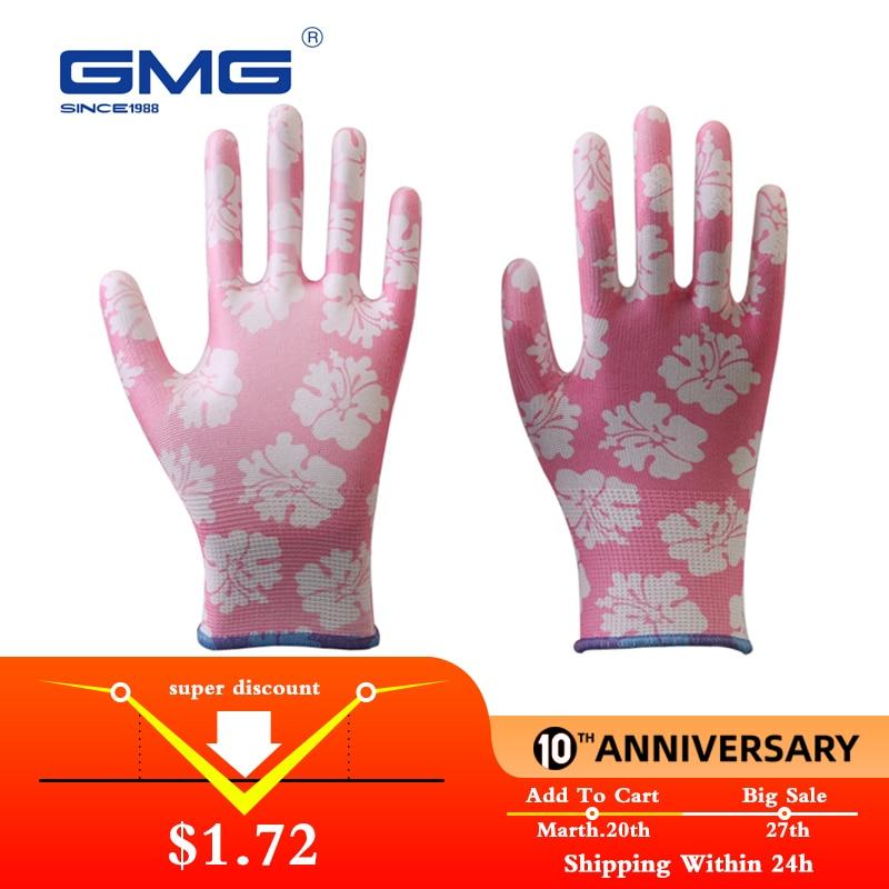 Garden Gloves GMG Printed Polyester Shell White PU Coating Safety Work Gloves Women's Working Gloves Women