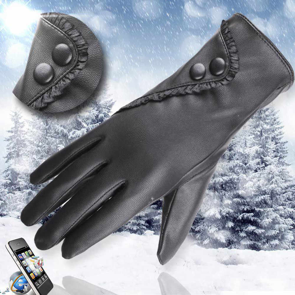 Gloves Fashion Lady Soft Leather Gloves Winter Warm Mitten Xmas Gift Black high quality Glove Women Black Mittens #L20