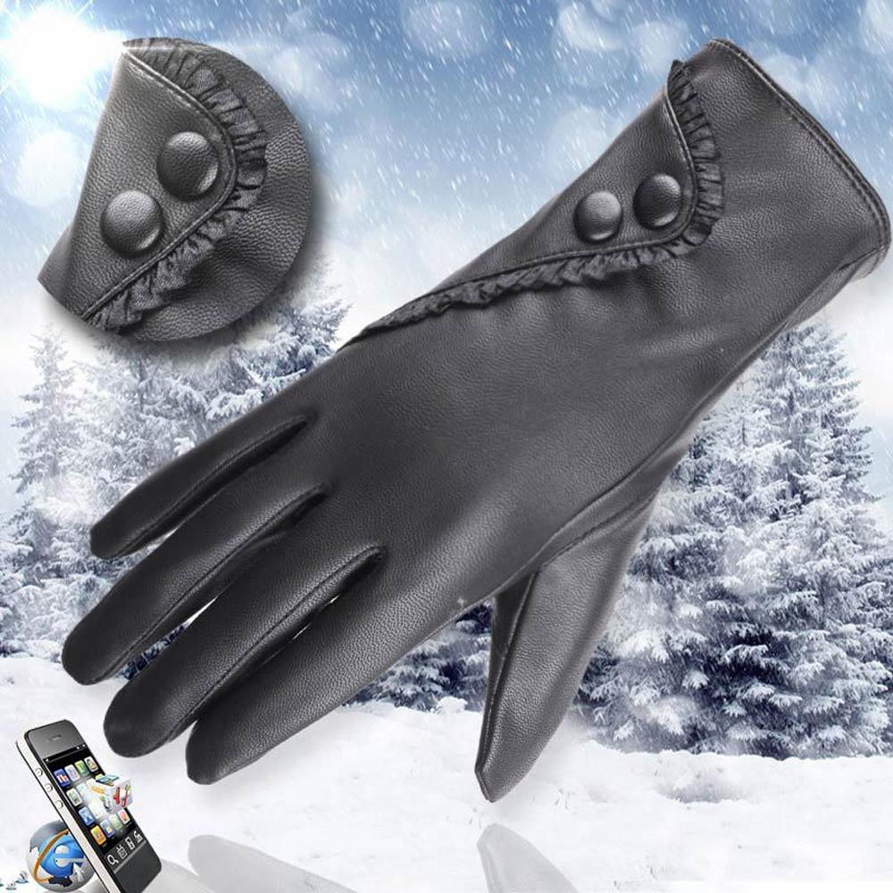 Gloves Fashion Lady Soft Leather Gloves Winter Warm Mitten Xmas Gift Black High Quality Glove Women Black Mittens #L20