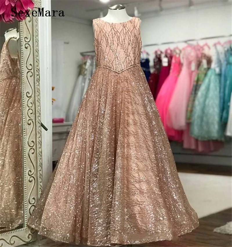 Sparkling Glitter Tulle Pageant Dresses For Girls Bling Bling Little Girl Birthday Party Gown Rose Pink Silver White