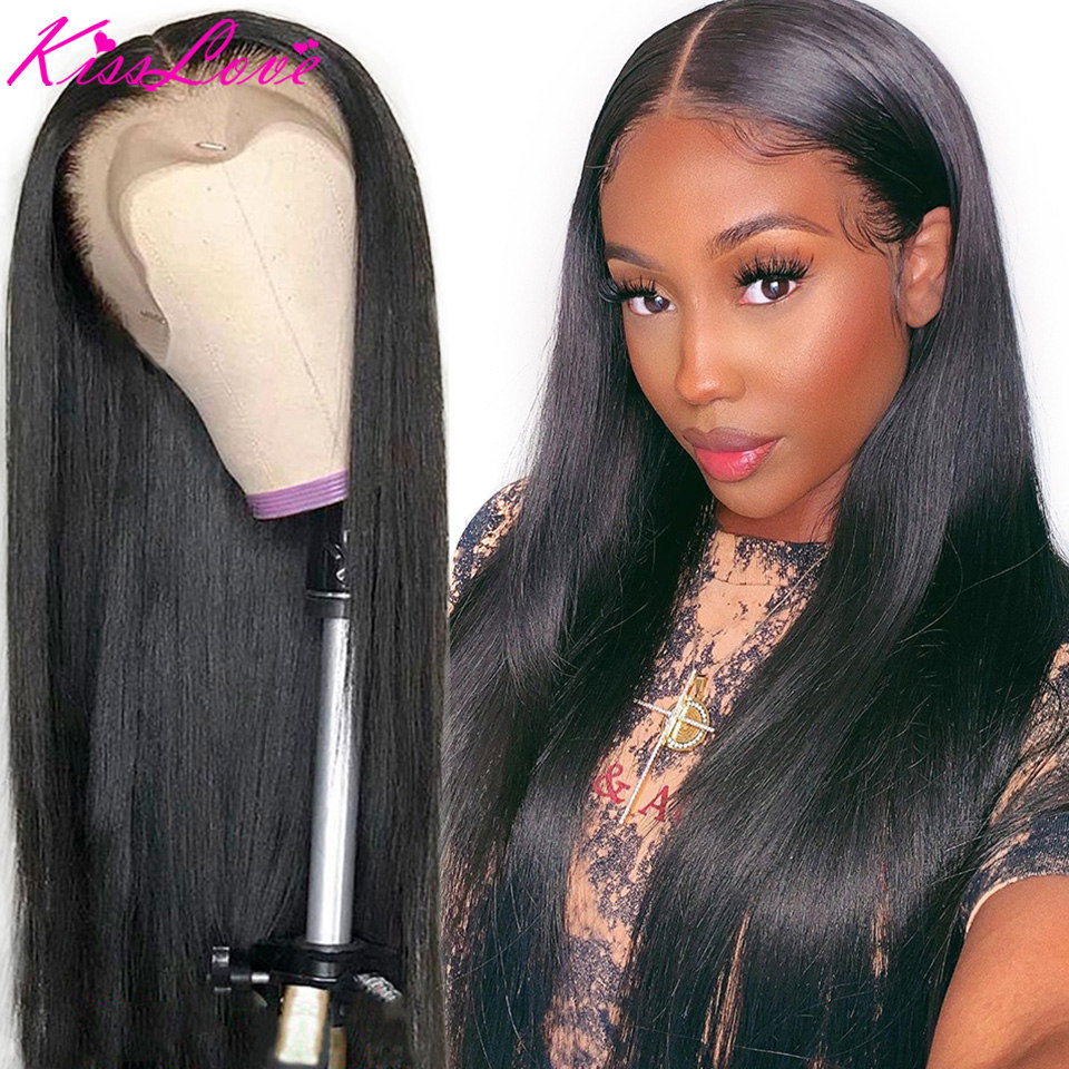 Brazilian 360 Lace Frontal Human Hair Wigs For Women Remy Hair Straight Human Hair Wigs With Baby Hair Middle Ratio Kiss Love