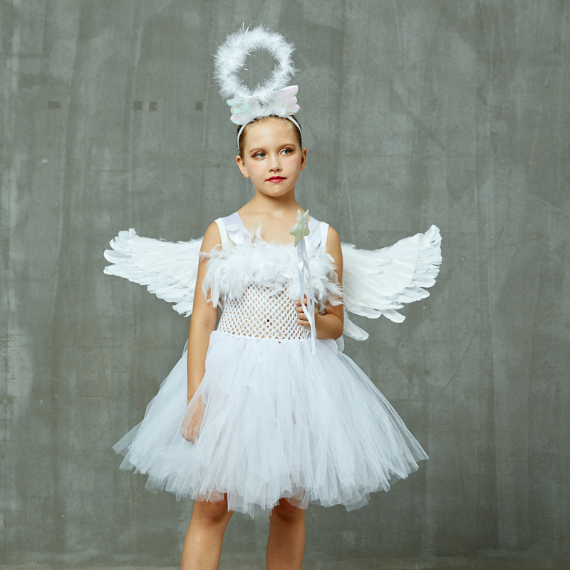 Guardian Angel Kids Halloween Costume White Feather Angel Girls Tutu Dress with Wings & Halo Christmas Nativity Gabriel Clothes (19)