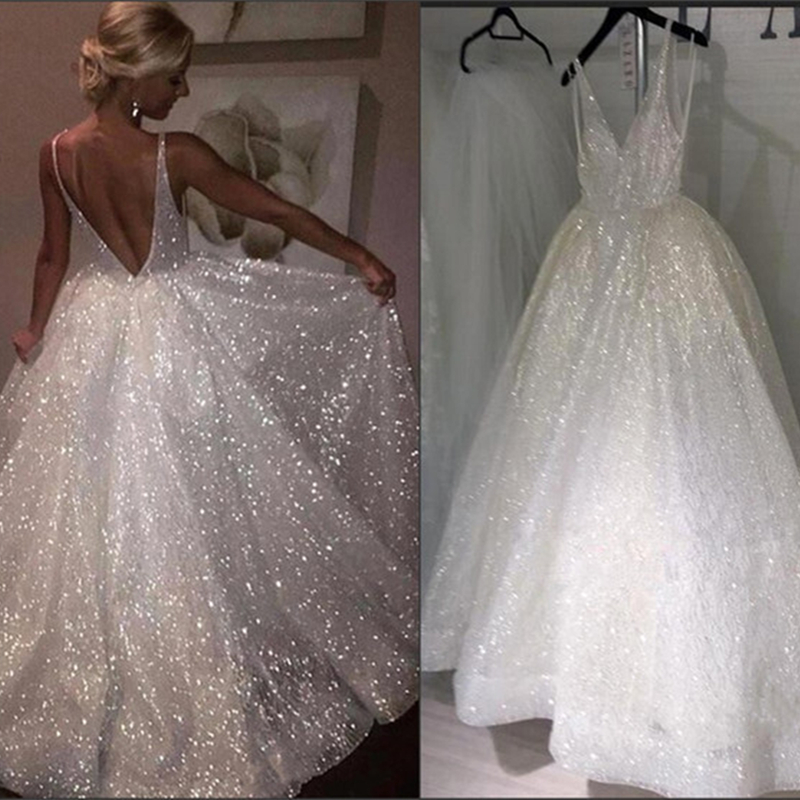 LORIE 2019 New Wedding Backless Beach Wedding Dress V Neck Spaghetti Straps Bridal Vestido De Noiva Gelinlik Arabic Mariee Shiny