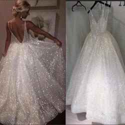 LORIE 2020 Strand Glitter Hochzeit Kleid v neck Party Braut Kleider vestido de noiva gelinlik Arabisch mariee shiny Brautkleider