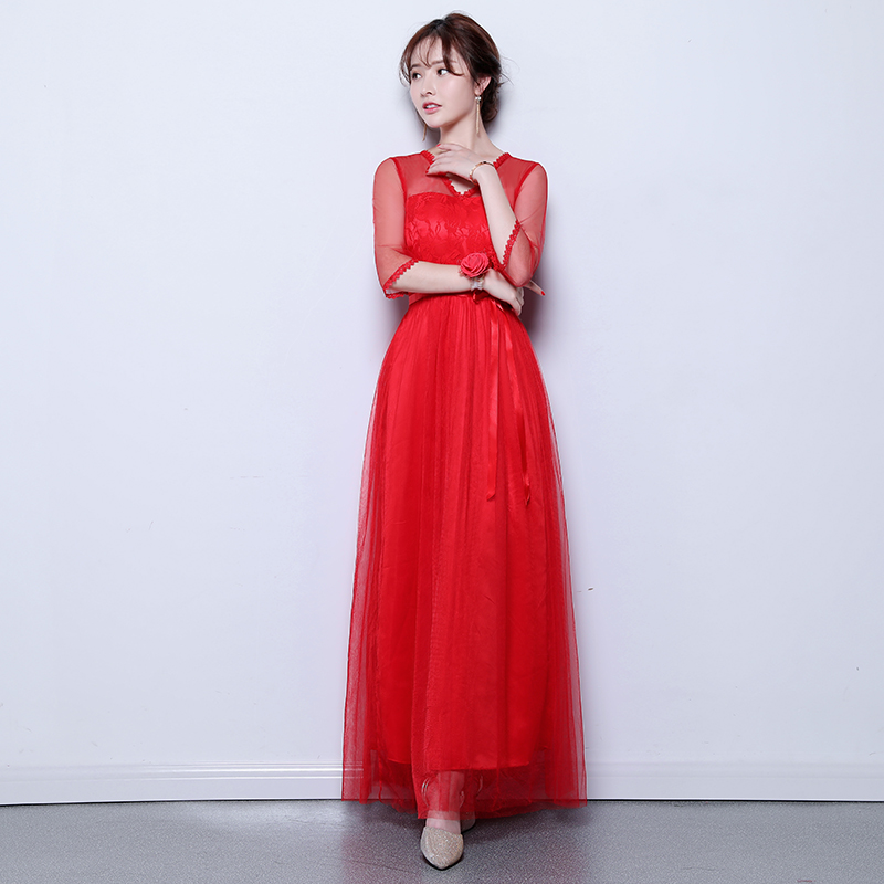 V-neck Tulle Long Dress For Wedding Party For Woman A-Line Red Bridesmaid Dress Sister Vestidos Mujer Wedding Burgundy And Pink