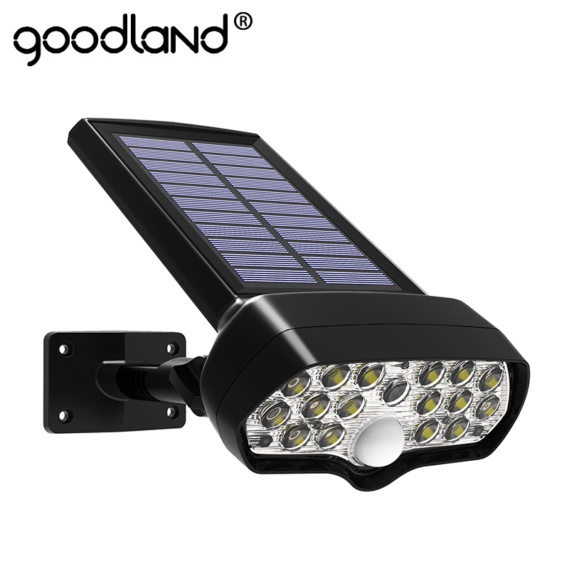 Goodland LED Solar Light Outdoor Solar Lamp PIR Motion Sensor Waterproof Shark Solar Powered Sunlight For Garden Decoration Wall