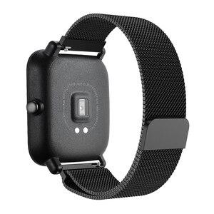 Image 4 - 20 มม.สร้อยข้อมือสำหรับXiaomi Huami Amazfit Smartสมาร์ทนาฬิกาสายโลหะสแตนเลสสตีลเข็มขัดสำหรับAmazfit Bipสายรัดข้อมือ