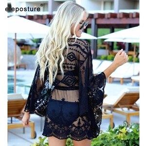 Image 5 - 2019 Sexy Mesh Strand Cover Up Spitze Strand Kleid Frauen Bikini Badeanzug Abdeckung Up Langarm Strand Tuniken Bade anzüge Abdeckung Ups