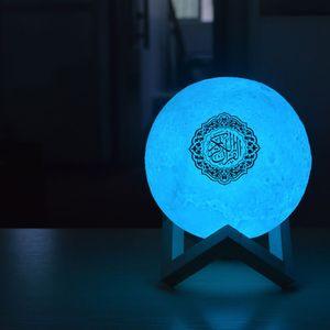Image 5 - 1 סט קוראן Bluetooth רמקולים צבעוני שלט רחוק קטן אור ירח LED לילה אור ירח מנורת אור ירח אלחוטי קוראן רמקול