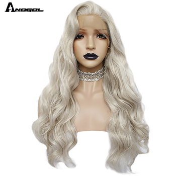 Anogol Ash Blonde Synthetic Lace Front Wig Long Body Wave Wig with Free Part High Temperature Fiber for Women should length dark root ash blonde lace front wig synthetic