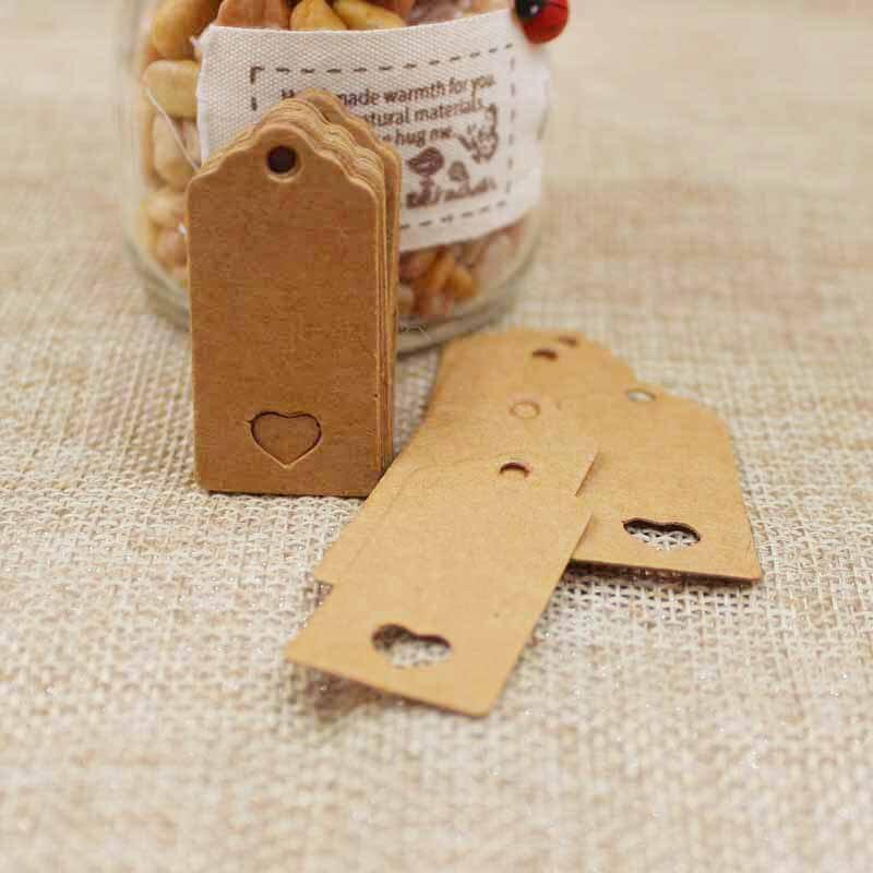 2018 1000 pièces 4*2cm bricolage fait à la main kraft cadeau étiquettes bijoux à bricoler soi-même produits pétoncles forme creux coeur étiquette volante logo personnalisé coût supplémentaire