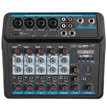 M-6 Portable Mini Mixer o DJ Console with Sound Card, USB, 48V Phantom Power for PC Recording Singing Webcast Party(US Plug)