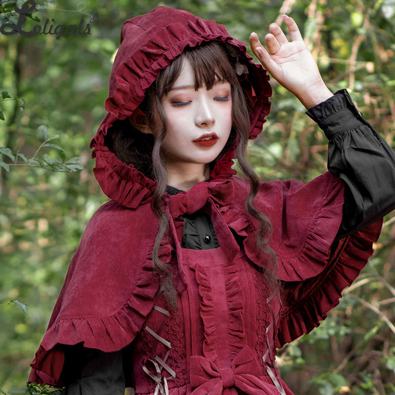 Women's Lolita Hooded Cape Coat Ruffled Cloak Poncho
