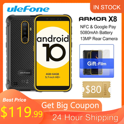 Ulefone Armor X8 NFC 4GB 64GB 5080mAh Battery Smartphone Android10 5.7-inch Cell Phone ip68 Octa-core 4G LTE Mobile Phone