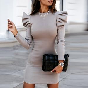 Elegant Shoulder Slim Fit Knitted Dress Women Autumn O Neck Long Sleeve Party Dress Casual Ladies Mini Dress