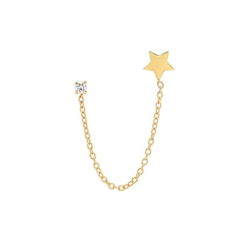ROXI 925 Sterling Silver Drop Moon Star Piercing Stud Earrings for Women Rectangle Zircon Crystal Brincos Cartilage Jewelry