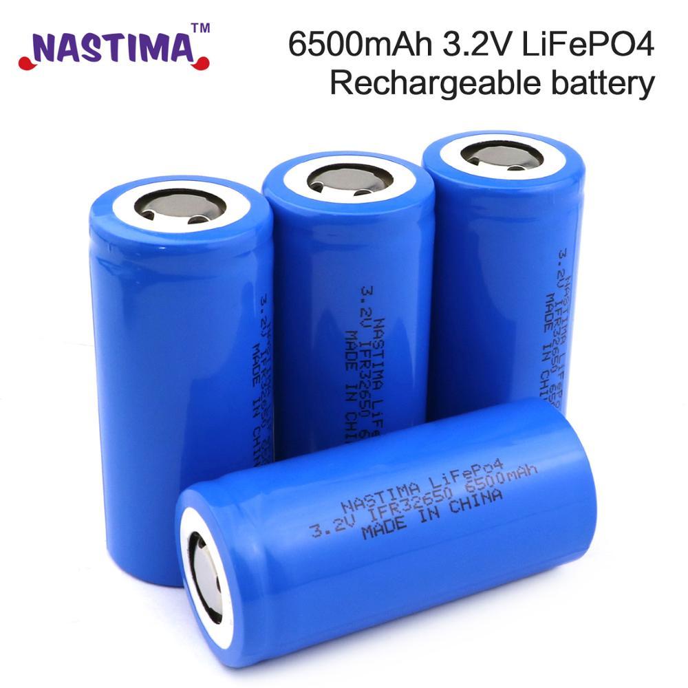 Nastima 4 pièces Lifepo4 32650 batterie Rechargeable 3.2V 6500mAh avec dessus plat pour secours puissance lampe de poche lumière voiture 32650 batterie