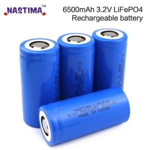 Nastima 4pcs Lifepo4 32650 Rechargeable Battery 3.2V 6500mAh With Flat Top For Backup Power flashlight Light car 32650 battery(China)