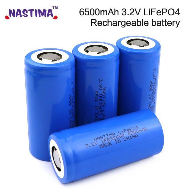 Nastima 4pcs Lifepo4 32650 Rechargeable  Battery 3.2V 6500mAh With Flat Top For Backup Power flashlight Light car 32650 battery