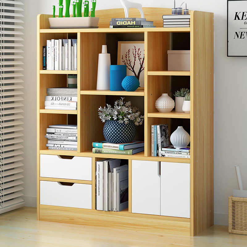 Combined Bookcase Bookshelf Large Capacity Storage Province Space Economical Bookshelf Living Room Library Free Northern Europea