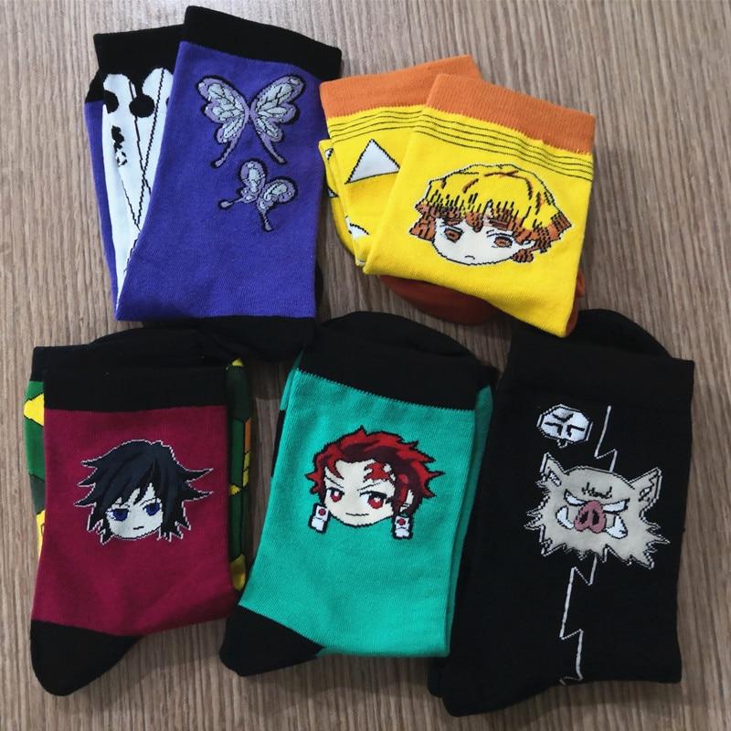 Anime Demon Slayer Kimetsu No Yaiba Kamado Tanjirou Kochou Shinobu Socks Embroider Cartoon Ankle Socks Creative Sock