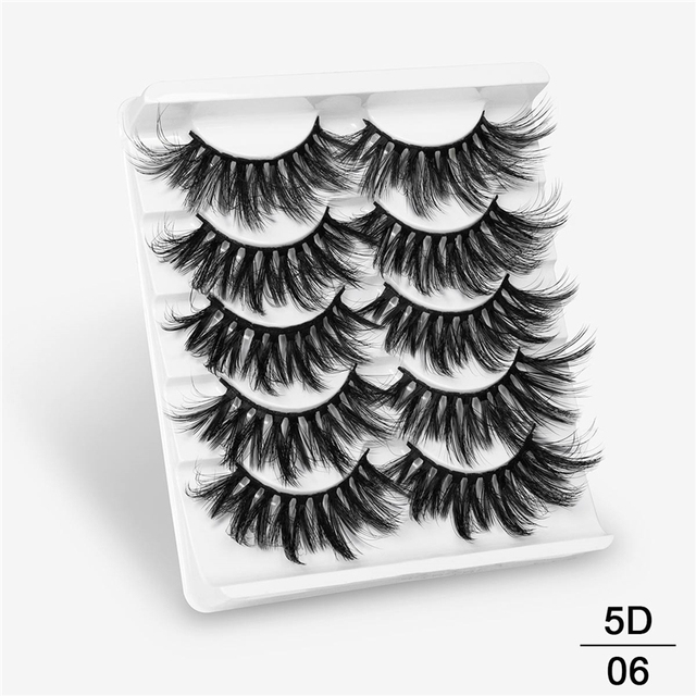 SEXYSHEEP 5Pairs 20-25mm 3D Faux Mink Hair False Eyelashes Natural/Thick Long Eye Lashes Wispy Makeup Beauty Extension Tools 1
