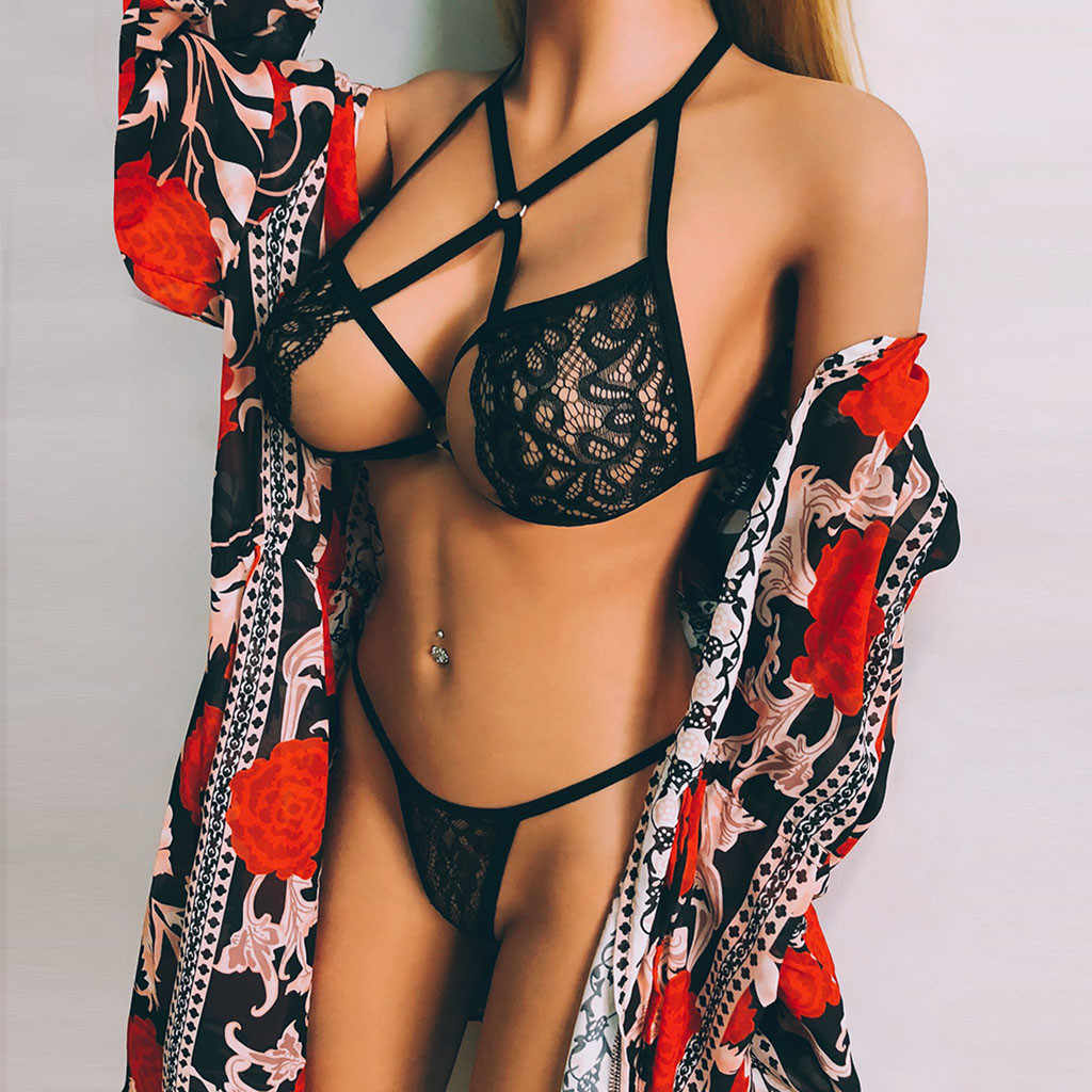 Babydoll Erotische Sexy Ondergoed Sexy Bh G-string Lingerie Set Lace Hollow Out Lenceria Porno Mujer Sex Kostuums Sexi Langerie