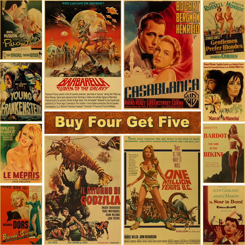 Classic Old Movie Poster Vintage Kraft Paper Posters and Prints Art Painting for Room Bar Cafe Decoration Wall Decor Painting