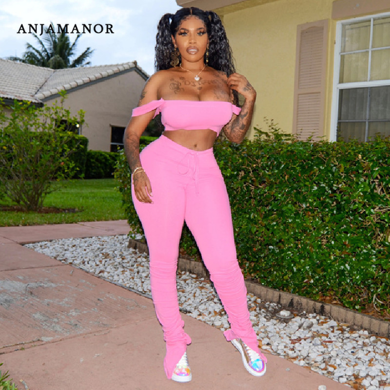 ANJAMANOR 2020 Summer Sexy Two Piece Set Solid Crop Top Split Stacked Sweatpants Plus Size Women Clothing Club Outfits D30-AD72