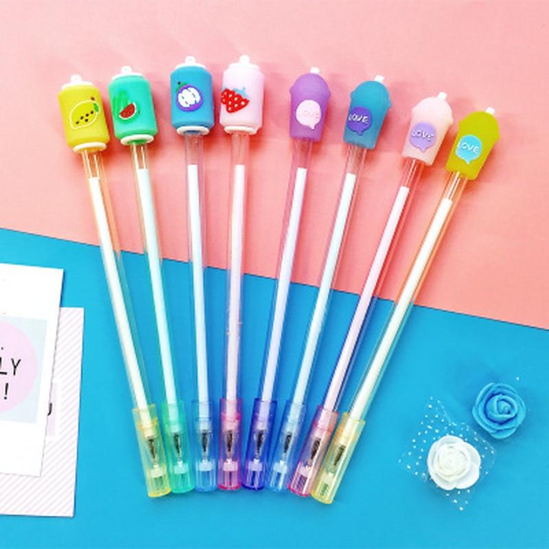 1pcs Fruit Drink Cup Gel Pen 0.5mm  Cute Gel Pen Student Stationery Kawaii Pen Novelty Cute Gel Pens Kawaii School Supplies