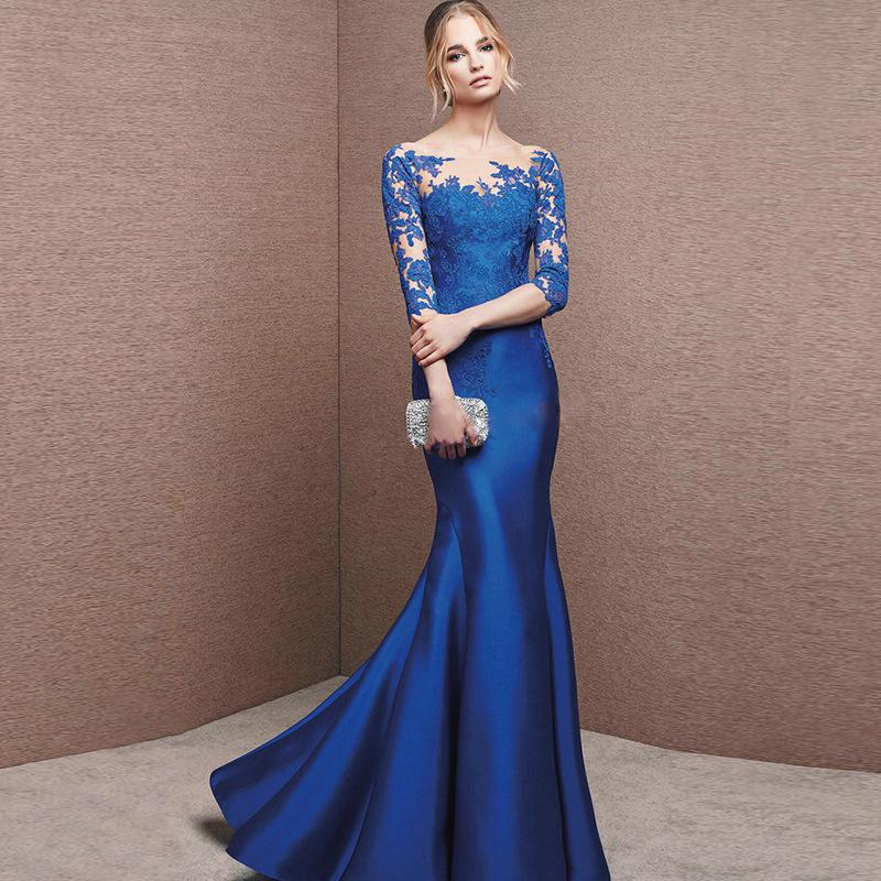 Lace Embroidery Formal Evening Dress Robe De Soiree Sexy O Neck Half Sleeve Mermaid Evening Gown Illusion Party Prom Dress
