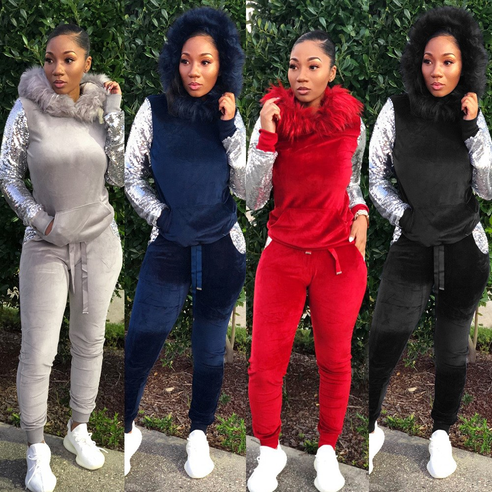 Velvet Two Piece Set Casual Women Faux Fur Hat Sequins Long Sleeve Pockets Hooded Sweatshirts Pants Tracksuit Club Outfits