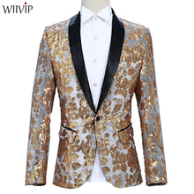 New Man Bling Sequins Patchwork Full Sleeve Fashion Blazer Coat Casual Performance Wedding Party xz056
