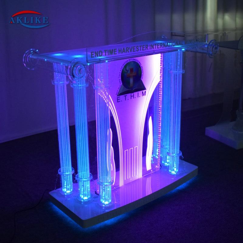 Glass Acrylic Modern Church Pulpits Church Modern Podium  Custom Logo Used Lectern Fot Sell AKLIKE LED Pulpit Furniture