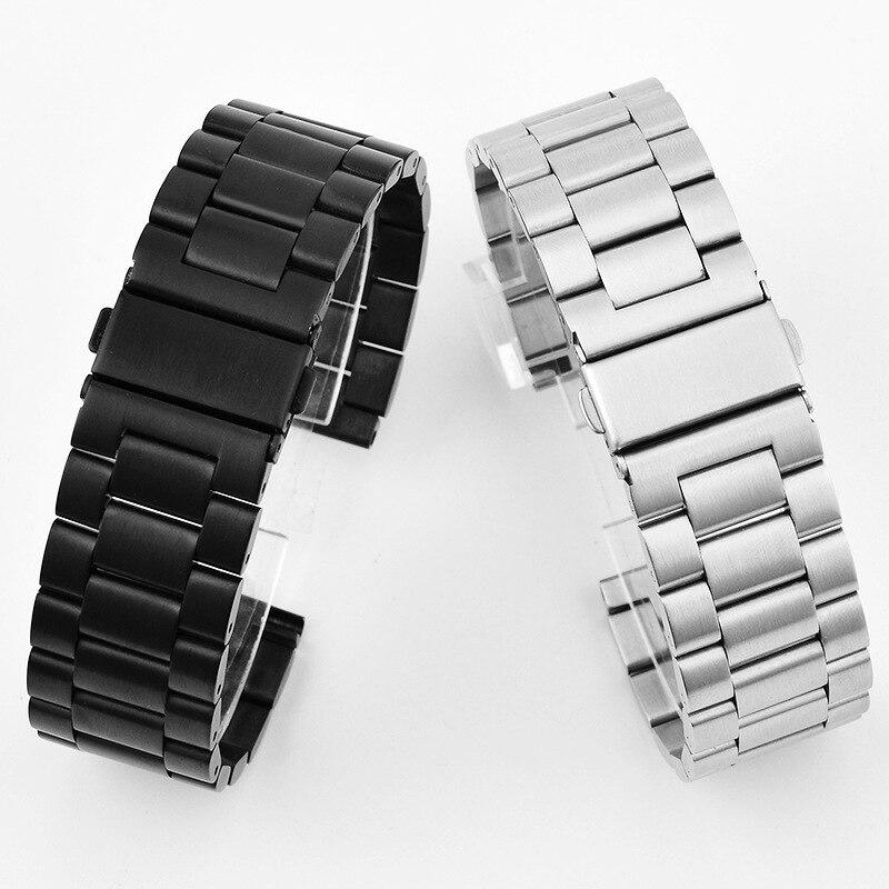 Pulseiras de relógio para samsung gear s3 frontier clássico pulseira relógio aço inoxidável 46mm accessorie 16 18 20 22 24mm