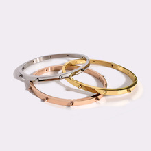 Punk Fashion Gold Color Rivet Design Bangle Titanium Steel Pyramid Nail Bracelet for Women punk skull rivet decorated bracelet with ring for women