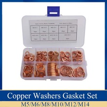 200PCS/Set Copper Washers Gasket Set 9 Sizes Flat Ring Seal Kit With Plastic Box omy 150pcs copper washers set solid copper washer gasket sealing ring assortment kit set with case 15 sizes for hardware tools