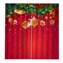 Christmas Snowflake Christmas Decoration Full Blackout Hook Curtain Print Curtain Bedroom Living Room Decorative Curtain