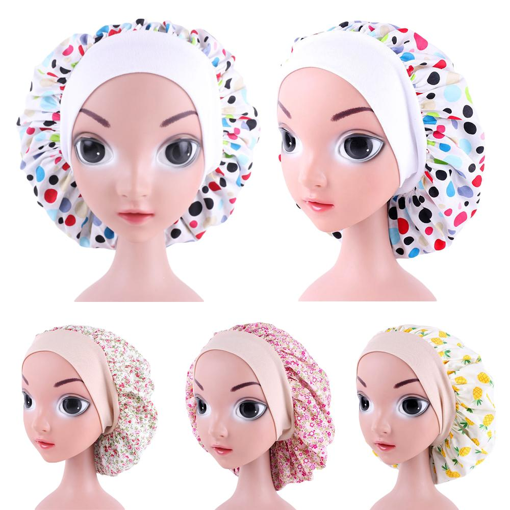 New Kids Cotton Bonnet Cap Girls Wide Elastic Band Print Night Sleep Hat Chemo Cancer Cap Beanies Skullies Hair Loss Hat Casual