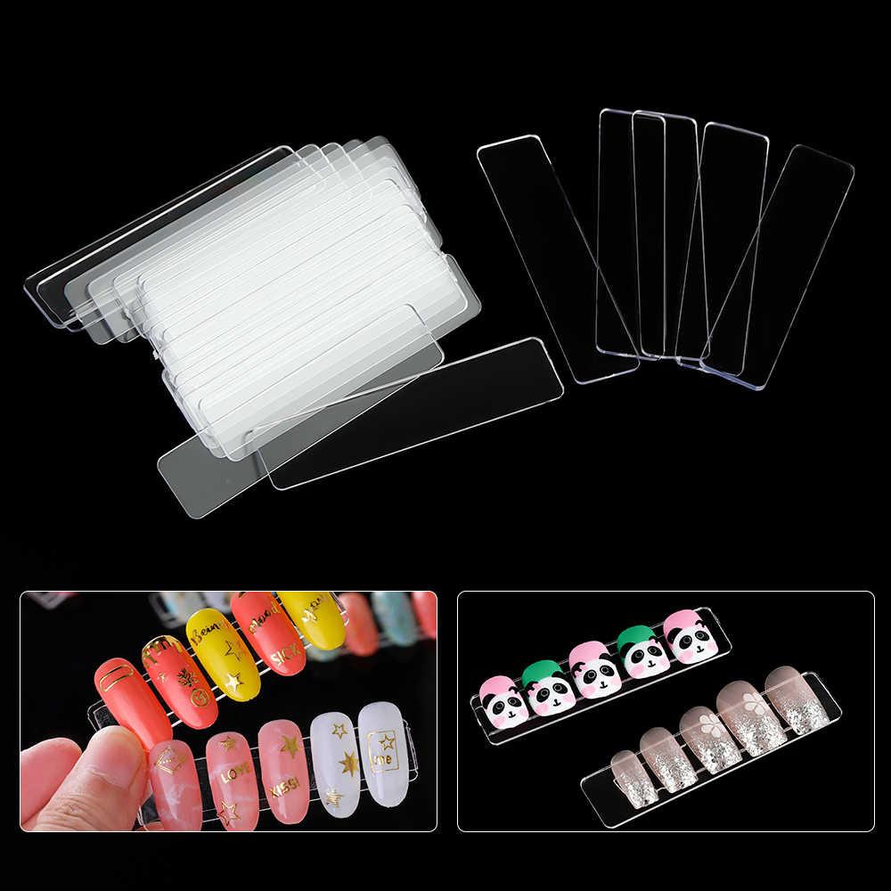 50 stücke Falsche Nagel Zeigt Tipps Nail art Display Stand Transparent Praxis Acryl Gel Polish Halter Streifen Maniküre Zeigt Werkzeuge