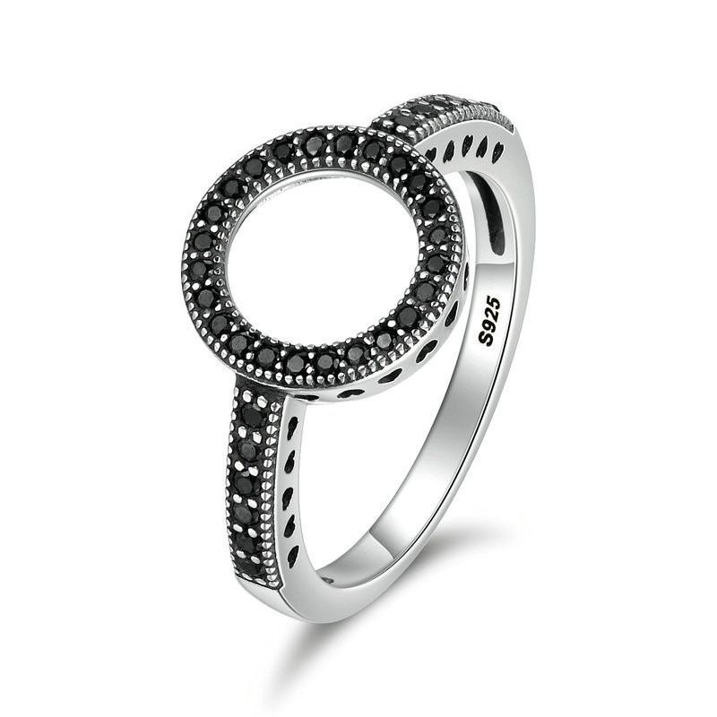 2019 Simple Round White Black Zircon Ring For Women Manual Mosaic Zircon Wedding Party Engagement Rings Fashion Jewelry Gif