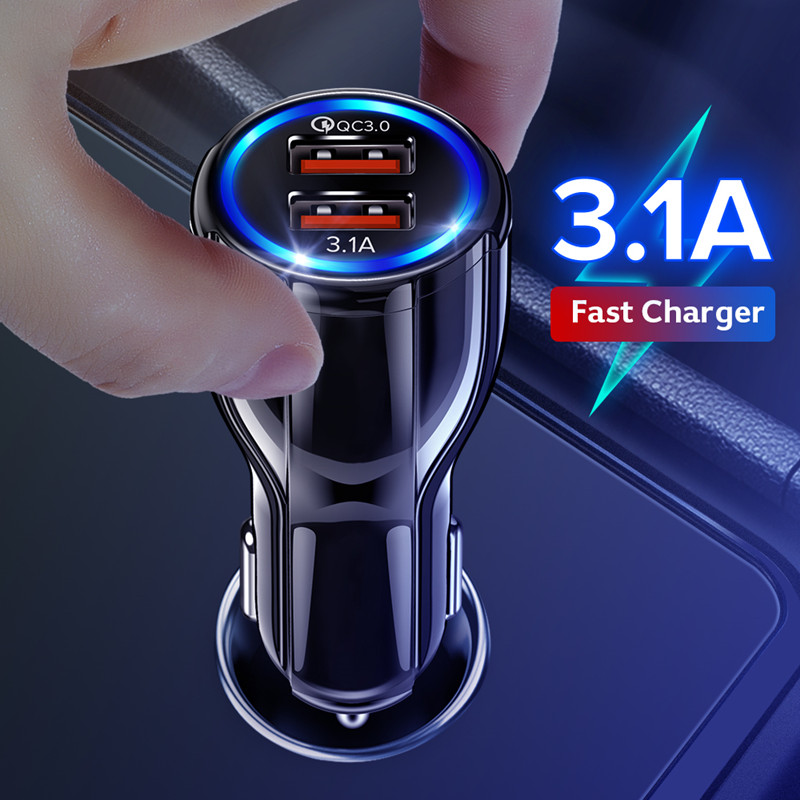 GETIHU 18W 3.1A Car Charger Quick Charge 3.0 Universal Dual USB Fast Charging QC For iPhone Samsung Xiaomi Mobile Phone In Car|Car Chargers|   - AliExpress