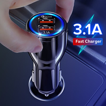 GETIHU 18W 3.1A araç şarj cihazı çift USB hızlı şarj QC telefon şarj adaptörü iPhone 12 11 Pro Max 6 7 8 Xiaomi Redmi Huawei