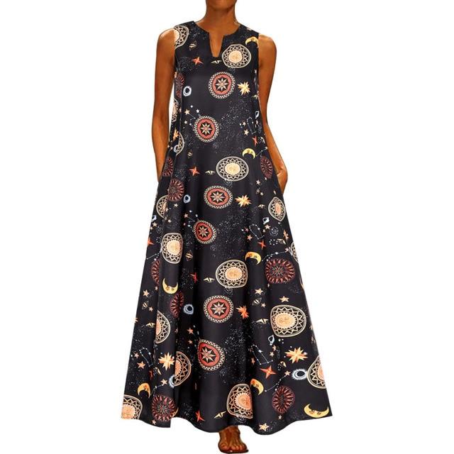 2020 Floral Print Boho Casual Long V-neck Off Shoulder  Maxi Dress  4