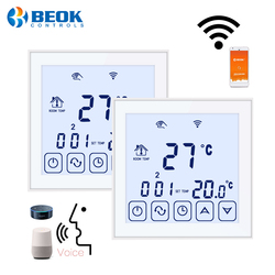 Beok 2 pcs/pack 220V Room Thermostat Wifi Floor Heating Temperature Controller Works With Google Home Alexa