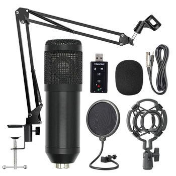 Bm800 Professional Suspension Microphone Kit Studio Live Stream Broadcasting Recording Condenser Microphone Set(Black)