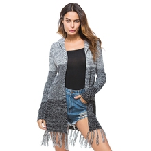 New tassel Knitted Cardigan Women Hooded Sweater Casual Coat Autumn Winter Long Cardigan Loose Long Sleeve Open Stitch Cardigans new 2019 spring women geometric pattern fringed shawl turn down collar coat splices tassel open stitch long sleeve knit cardigan