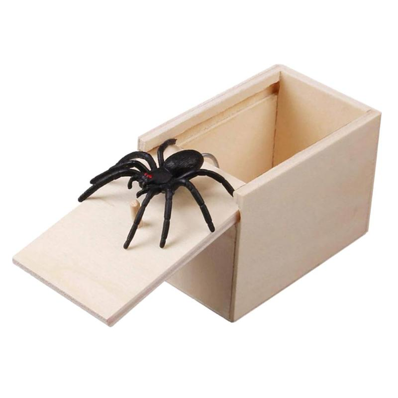 Prank Toy Surprise Box Animal Spider Wooden Box Practical Fun Joke Mischievous Toy Gift Scared Whole Screaming Toy
